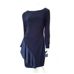NWT Chaps Navy Blue Long Sleeve Dress